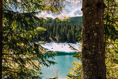 Dolomites de lac Karersee Photographie stock