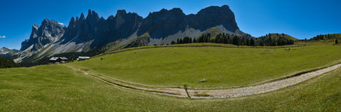 Dolomites, the group of Odle and refuge Brogles. Overview Odle taken near the mountain refuge Brogles, Dolomites stock photography