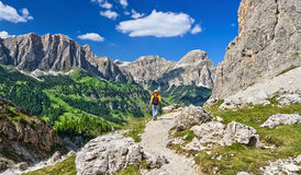 Dolomites - hiker in Badia Valley Royalty Free Stock Photography