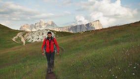 Dolomites hiker stock video