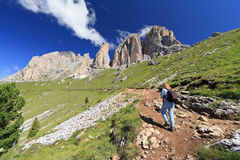 Dolomites - hiker on footpath Royalty Free Stock Images