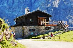 Dolomites house. In italian mountain, Pale di San Martino, aug 10 2016 Royalty Free Stock Image