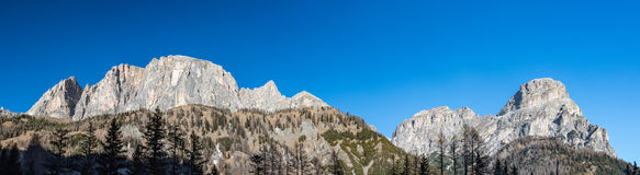 Dolomites huge panorama landscape view in winter snow time Royalty Free Stock Photo