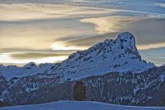 Dolomites huge panorama view in winter snow time Stock Image