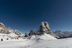 Dolomites huge panorama view in winter snow time. Awesome snowy landscape of italian dolomites royalty free stock photo