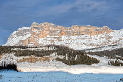 Dolomites huge panorama view in winter time monte croce Stock Photo