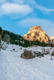 Dolomites huge panorama view in winter time sassongher Royalty Free Stock Image