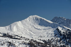 Dolomites huge panorama view in winter time Royalty Free Stock Photography