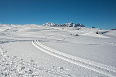 Dolomites huge panorama view in winter time Royalty Free Stock Photo