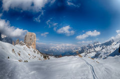 Dolomites huge panorama view in winter time Stock Image
