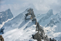 Dolomites huge panorama view in winter time Stock Photo