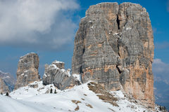 Dolomites huge panorama view in winter time Royalty Free Stock Image