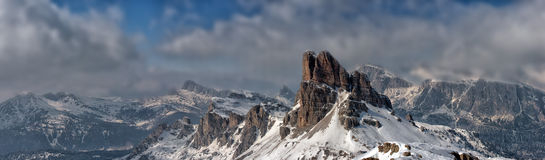 Dolomites huge panorama view in winter time Royalty Free Stock Images