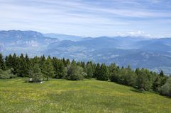 Dolomites, Italian Alps with amazing views. Meadows and mountains panoramic view stock images