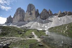 Dolomites italianas - CIME de Tre, paisagem da montanha Imagem de Stock