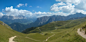 Dolomites - Italy. Panoramic view from the trail near the fork of Peitlerkofel, Dolomites - Italy Royalty Free Stock Photo