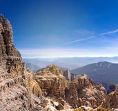 Dolomites, Italy. Alps, climber. sunny day in the dolomites Stock Photos