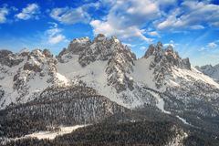 Dolomites, Italy. Beautiful scenario with Snow-Covered Mountains Stock Photography