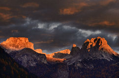 Dolomites italy. The mountains of Italy,    valgardena, at sunset Stock Image