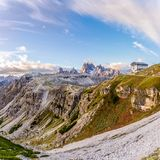 View at the nature with hut in Dolomites Royalty Free Stock Image