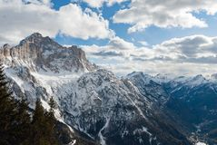 Free Dolomites Italy Winter Mountain Panorama Snow Rock Royalty Free Stock Image - 135291506
