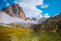 Dolomites Lake Mitteralplsee Stock Image