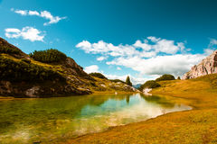 Dolomites Lake Mitteralplsee Stock Photo