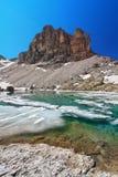 Dolomites - lake Pisciadu Stock Photo