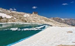 Dolomites - lake Pisciadu Stock Image