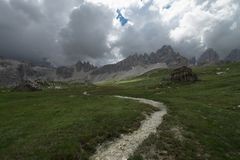 Dolomites landscape and beautiful sunrays on the mountain, Dolomites, Sudtirol, Trentino Alto Adige, Italy.  royalty free stock photography