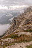 Dolomites landscape, high above the clouds, on top of the rocks Stock Photography