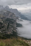 Dolomites landscape, high above the clouds, on top of the rocks Royalty Free Stock Images