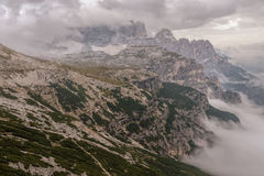 Dolomites landscape, high above the clouds, on top of the rocks Stock Image