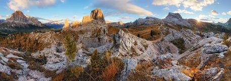 Dolomites landscape mountain panorama with forest and Tofana, It Stock Image
