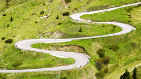 Dolomites  landscape with mountain road. Royalty Free Stock Image