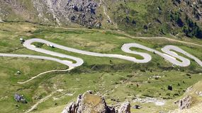 Dolomites  landscape with mountain road. Royalty Free Stock Photos