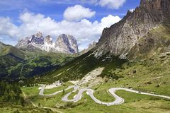 Dolomites  landscape with mountain road. Royalty Free Stock Photography
