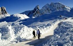 dolomites landscape snöig Royaltyfria Bilder