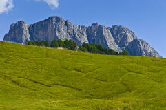 Dolomites, the mount Stevia - Italy. Overview of Mount Stevia taken from the mountain path of Seceda, Dolomites - Italy royalty free stock photo