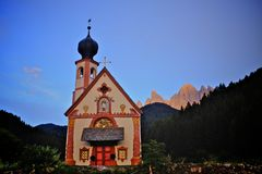 Dolomites mountain church Royalty Free Stock Image