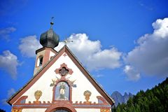 Dolomites mountain church Stock Photos