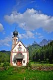 Dolomites mountain church Royalty Free Stock Photos
