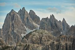 Dolomites mountain landscape. High mountain cliffs in the Dolomites Royalty Free Stock Photography