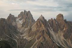 Dolomites mountain landscape. High mountain cliffs in the Dolomites Royalty Free Stock Photo
