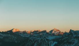 Val di Fassa Dolomites landscape, view from Sass Pordoi Peak. Dolomites- mountain landscape, Val di Fassa, view from Sass Pordoi Peak during golden hour Stock Images
