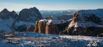 Val di Fassa Dolomites landscape, view from Sass Pordoi Peak. Dolomites- mountain landscape, Val di Fassa, view from Sass Pordoi Peak during golden hour Stock Photo