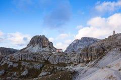 Dolomites mountain panorama and Locatelli Refuge Royalty Free Stock Photo