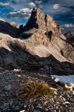 Dolomites mountain peak in the evening Stock Photos