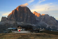 Dolomites mountain refuge stock photo