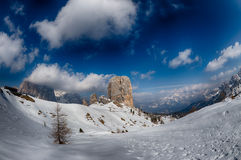 Dolomites mountain snow landscape in winter Stock Photography